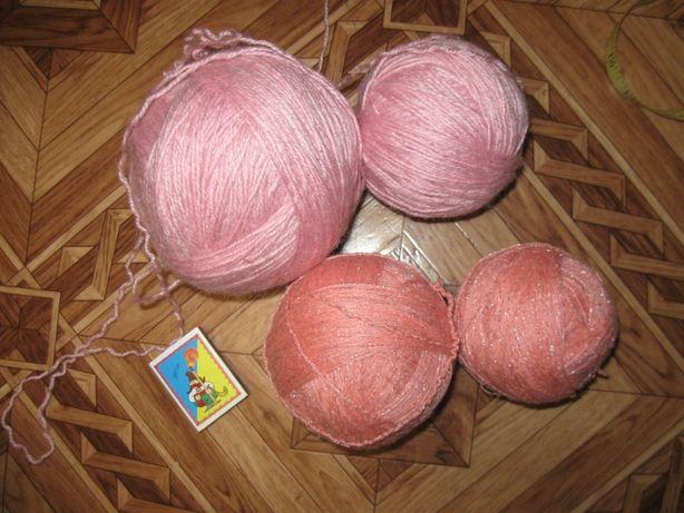 нить нитки для вязания розовые шерстяные