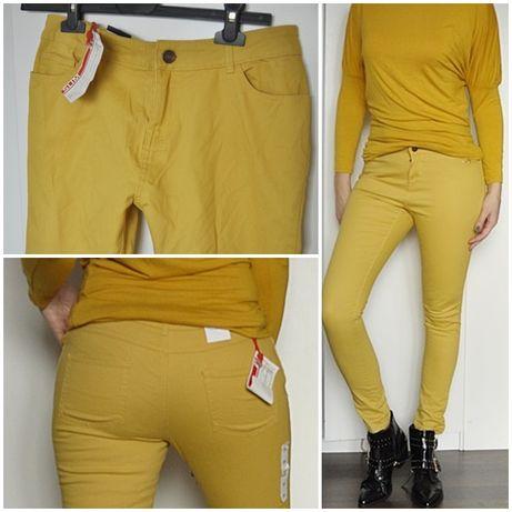 Spodnie rurki żółte musztardowe nowe bawełna! 36
