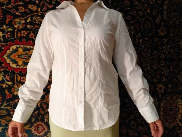 Школьная блуза белая рубашка коттон 40