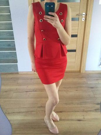 Sukienka czerwona z guzikami - 2 szt + 1 Free
