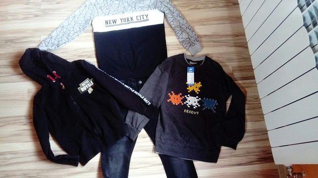 zestaw ubrań dla chłopca w rozmiarze 146, bluzy, spodnie, koszulki