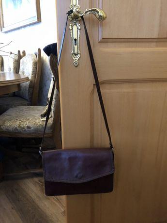 Skórzana torebka na ramię listonoszka