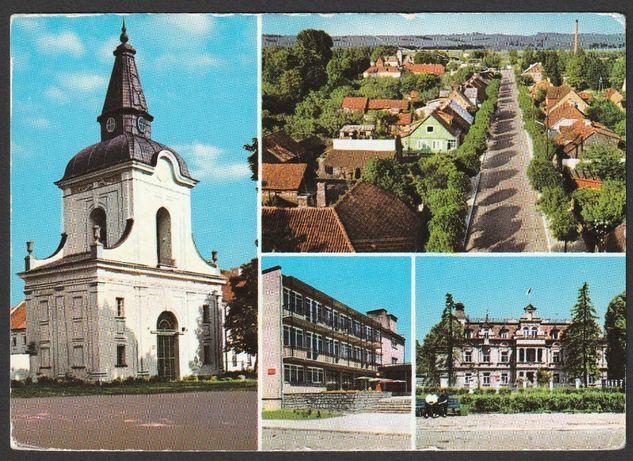 pocztówka - Supraśl 1972-74 - brama - pałac - panorama