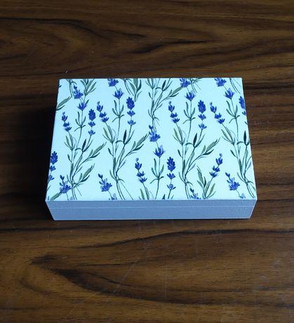 Drewniane pudełko z lawendą, małe pudełko, szkatułka, 2przegrody