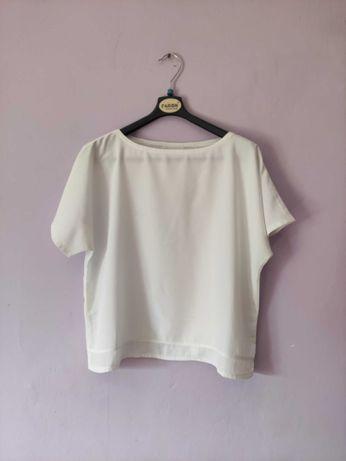 Biała bluzka z krótkim rękawem r. L xl 40 42