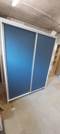 Szafa przesuwna 210x160x60 biały mat+ niebieski