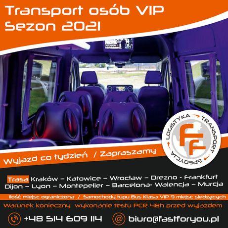 Transport Osób VIP Polska-Niemcy-Francja-Hiszpania Sezon 2021