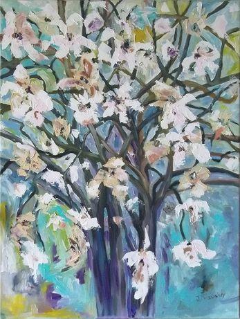 Obraz olejny 80x60 cm - magnolia