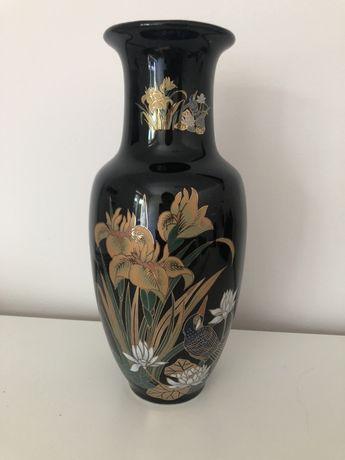 Japoński wazon czarny zdobiony Japonia 27cm złocony pozłacany