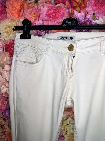 Spodnie damskie jeansy biodrówki niski stan jasne ecru L