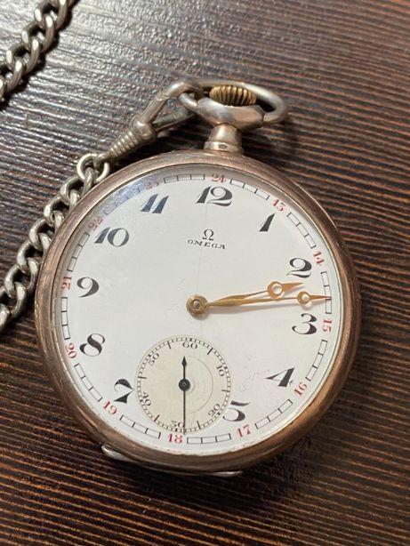 Srebrny zegarek kieszkonkowy z dewizką OMEGA SWISS