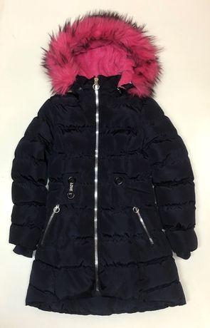 HAPPY HOUSE  ocieplany pikowany zimowy plaszczyk z futerkiem -12 lat