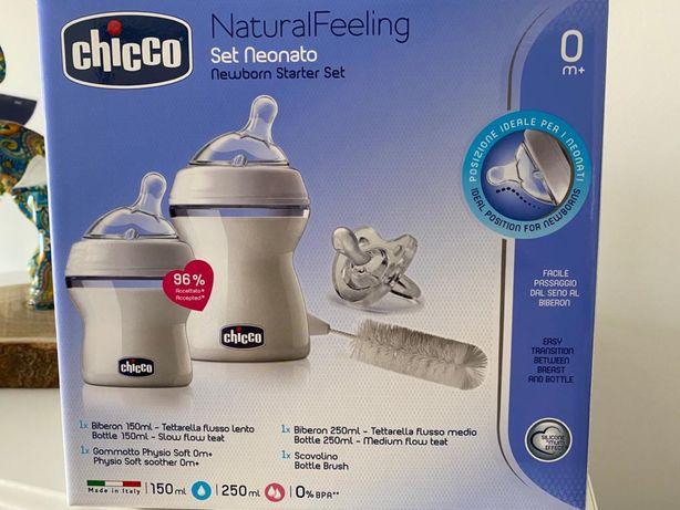 Set recen nascido chicco 2 biberoes natutal feeling + esfregao +chucha