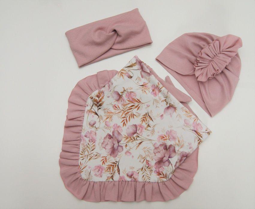 Komplet wiosenny turban czapka chusta z falbanką handmade Ćwiklice - image 1