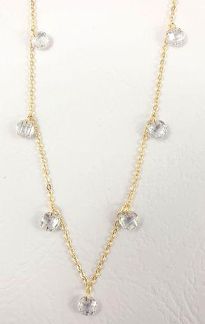 [585] Złoty Łańcuszek 1,49G Kryształki 40-42 cm