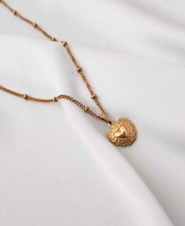 Najmodniejszy Złoty naszyjnik łańcuszek z sercem kuleczkami