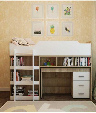 Кровать чердак, стол и шкафом для вещей. 3 в 1 + матрас в подарок