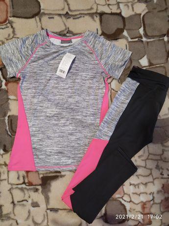 Костюм для фитнеса, футболка и лосины