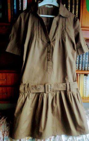 Vestido castanho claro manga curta cintura descaída forrado Tam:M/L