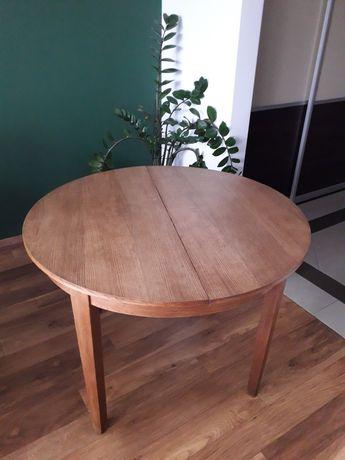 PRL 1960 stol okragly rozkladany 100 110 po renowacji fornirowany