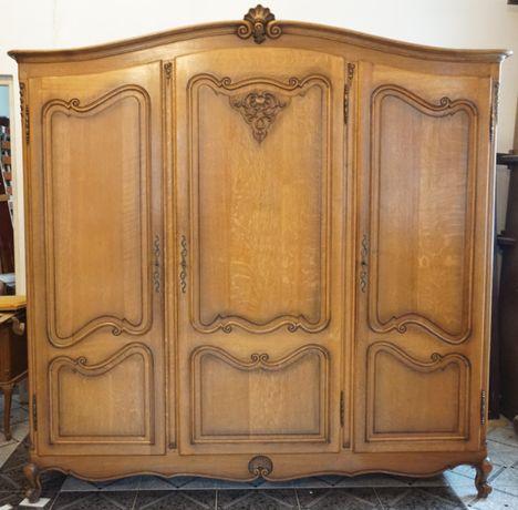 szafa trzydrzwiowa dębowa ludwik ludwikowska stara antyki drewniana
