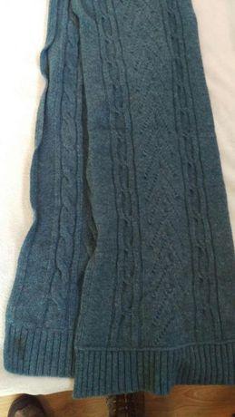 Cachecol azul de lã
