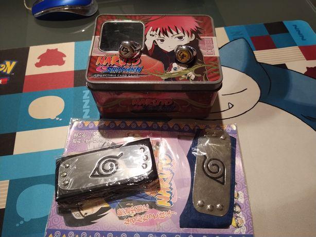 Bandanas Naruto + Anéis Akatsuki + caixa metálica Naruto
