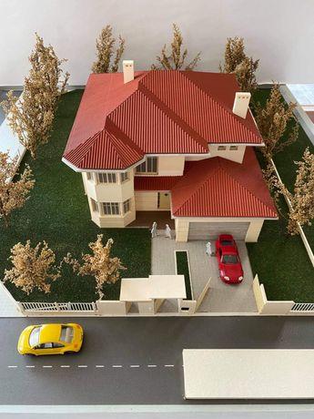 Makieta domu jednorodzinnego podświetlana