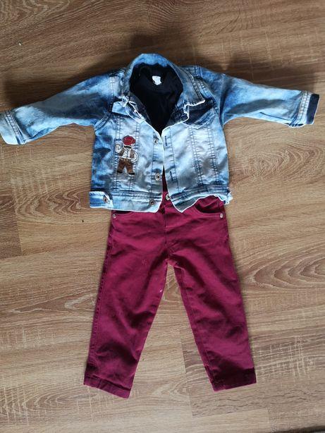 Zestaw ubrań dla chłopca w r 74 kurtka jeansowa spodnie buty Puma