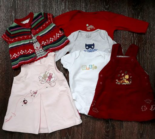 Комплект: сарафан, боди Mothercare, платье, кофта на девочку 0-4 мес.