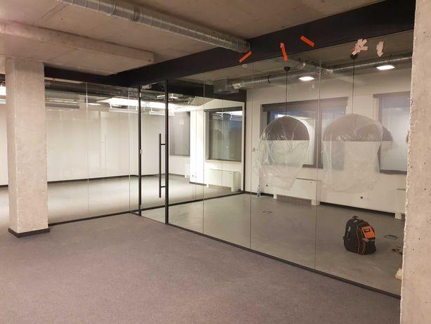 Ściana szklana działowa, biurowa z drzwiami