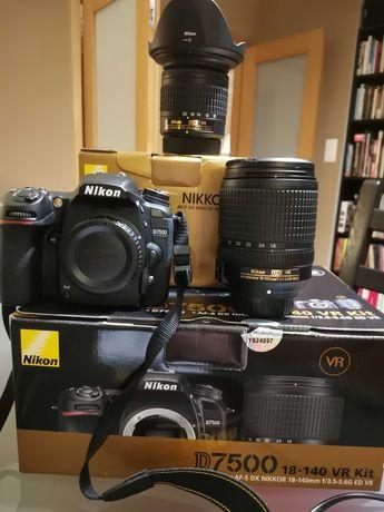 Nikon D7500 + 18-140 VR KIT + 10-20mm VR (com garantia)