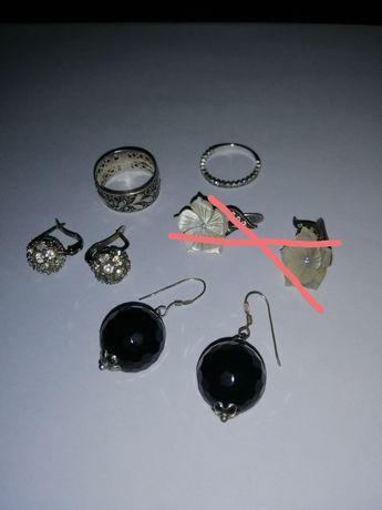 Серебро, кольца, серьги