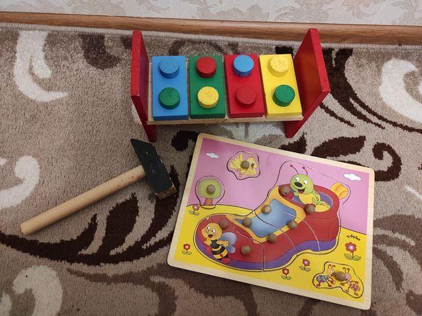 Развивающие игрушки стучалка+ пазл от 2 лет