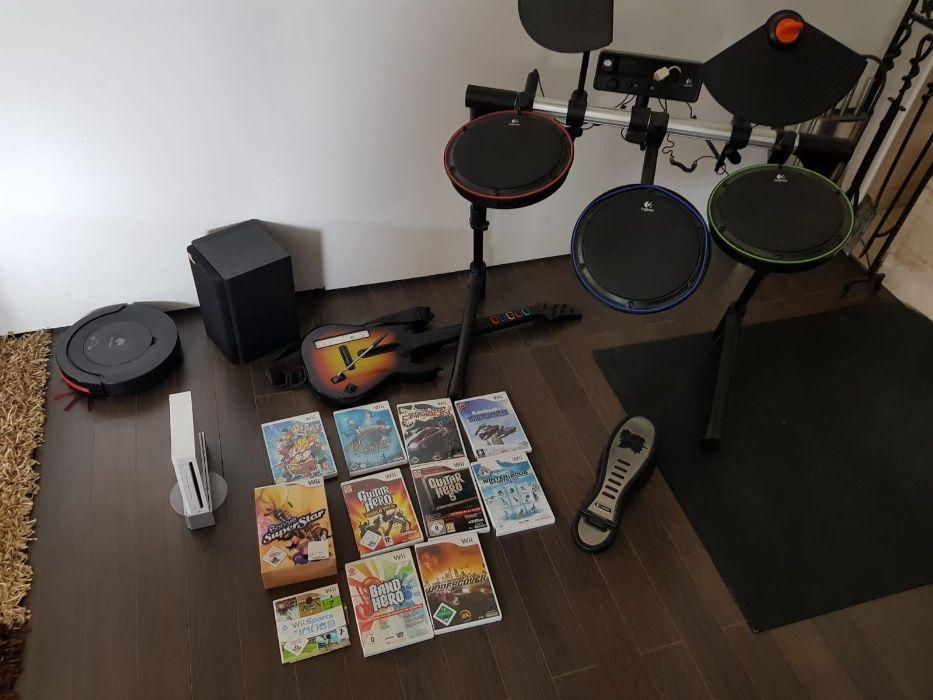 Konsola Wii z 10 grami, perkusjom, gitarą i mikrofonem Podgórzyn - image 1