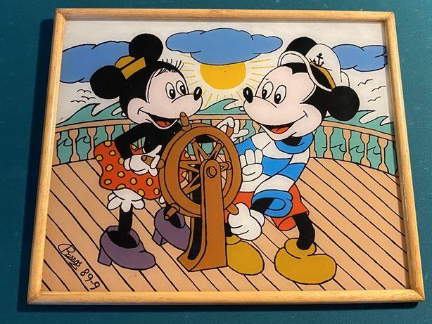 Quadro antigo pintado a mao, mickey mouse