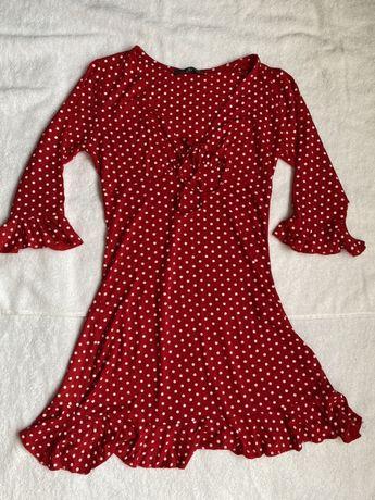 Платье в горошек сарафан красный