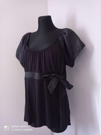 Czarna damska bluzka na krótki rękaw z kokardką duży rozmiar 48/50