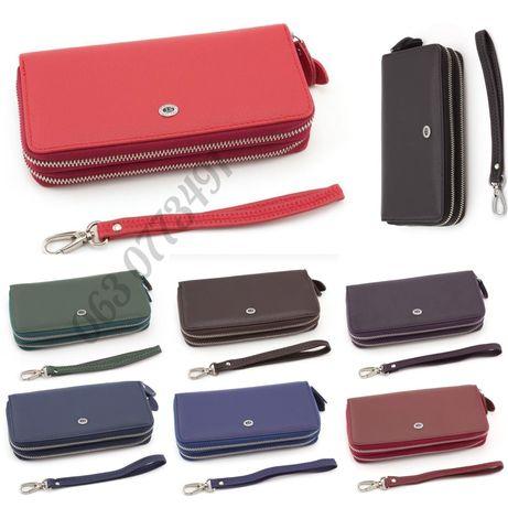 Кожаный женский кошелек клатч на две молнии ST Leather Accessories