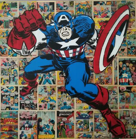 Capitão América pintura original em tela