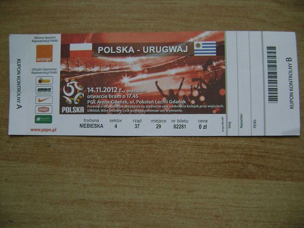 Starocie z PRL Bilet na mecz Polska - Urugwaj 14.11.2012 ERGO ARENA