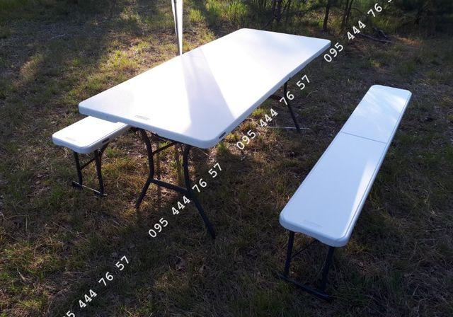 КОМПЛЕКТ! Стол складной  180х76 Lifetime + 2 лавки, стіл лавки