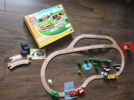 Playtive junior zestaw drewniany z pociągiem kolejka drewniana