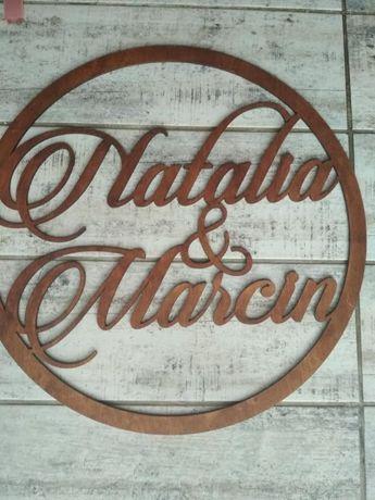 Koło z imionami Natalia i Marcin