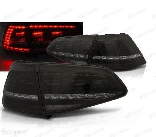 CONJUNTO DE FAROLINS VW GOLF 7 HATCHBACK 13-17 LOOK GTI INDICADORES LEDS DINÂMICOS FUMADO