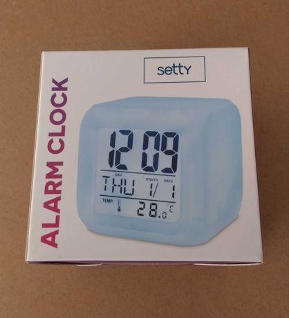 Relógio Despertador Iluminado c/ Calendário, Temperatura e Alarme