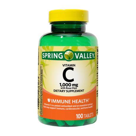 Таблетки витамина С Spring Valley с шиповником, 1000 мг, 100 шт.