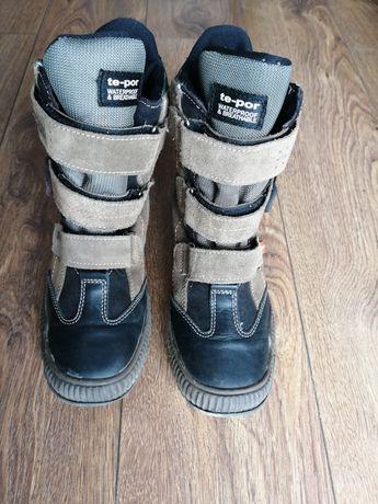Buty, kozaki zimowe skórzane firmy Te-Por, chłopięce