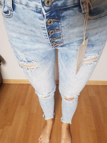 Spodnie mega jeans dziury zamek Nowe s