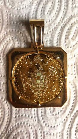 Złota piękna zawieszka z monetą 4 dukaty ręczne arcydzieło 38gr.okazja